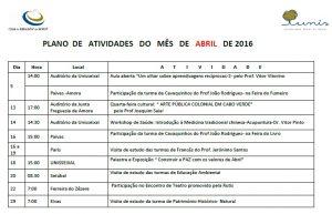 Plano de atividades do mês de  abril de 2016