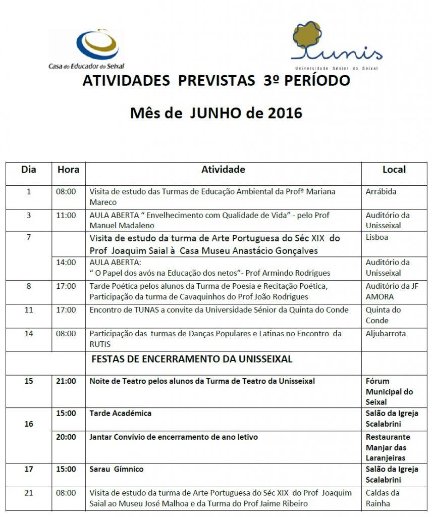 Plano de atividades do mês de junho de 2016