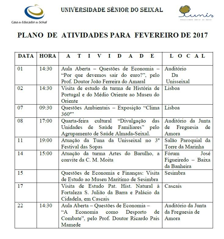 ad6bdd4a15 Plano de atividades-fevereiro 2017 - Unisseixal