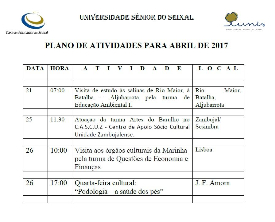 Plano de Atividades para Abril 2017
